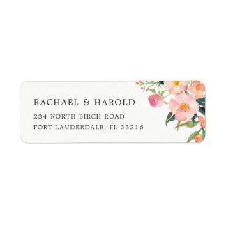 Jardín botánico de la acuarela moderna floral etiqueta de remitente