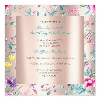 Jardín color de rosa floral del Chinoiserie de la Invitación 13,3 Cm X 13,3cm