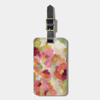 Jardín coralino y esmeralda etiqueta para maletas