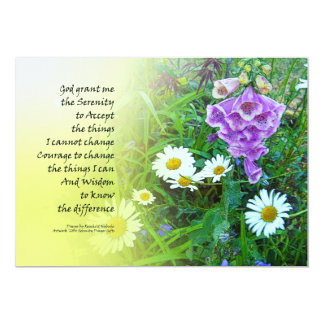 Jardín de flores del rezo de la serenidad invitación 12,7 x 17,8 cm