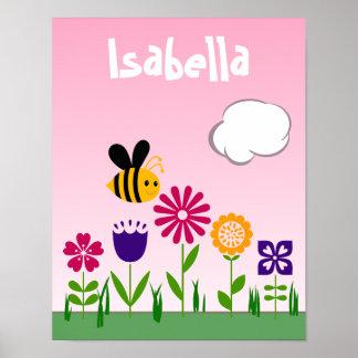 Jardín de flores feliz de la abeja personalizado póster