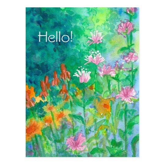 Jardín de flores rosado del bálsamo de abeja hola postal
