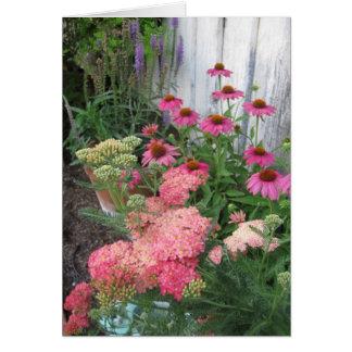 Jardín de flores rosado tarjeta pequeña