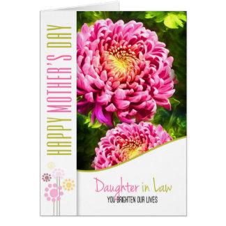 Jardín de la dalia del rosa del día de madre de la tarjeta de felicitación