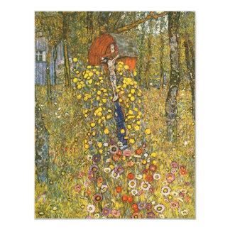 Jardín de la granja de Klimt con las invitaciones Invitación 10,8 X 13,9 Cm
