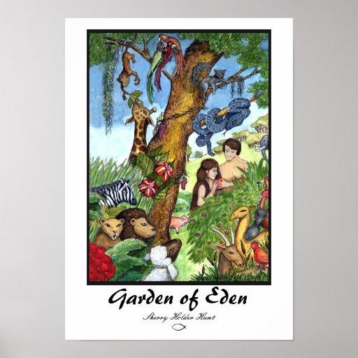 Jardín de la impresión de Eden - modificada para r Poster