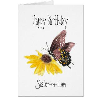 Jardín de la mariposa de la cuñada del feliz tarjeta