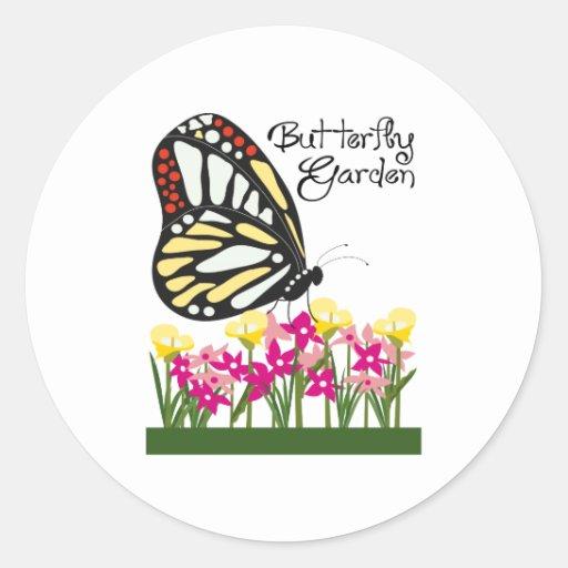 Jardín de la mariposa etiquetas redondas