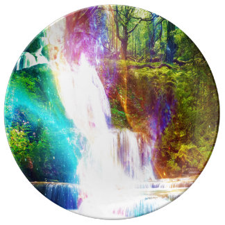 Jardín del chica del arco iris plato de porcelana