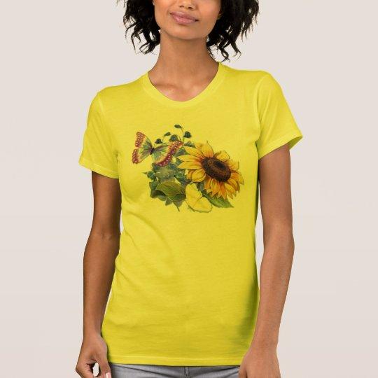 Jardín del girasol de la mariposa camiseta