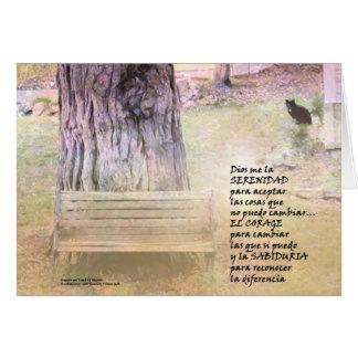 Jardín del rezo de la serenidad en español tarjeta de felicitación