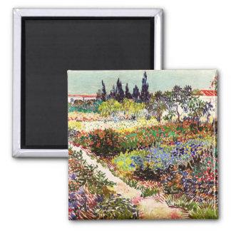 Jardín floreciente de Van Gogh en la bella arte Imán Cuadrado