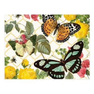 jardín moderno de la mariposa del vintage postal