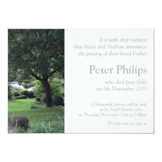 Jardín pacífico 6 del árbol - invitación fúnebre invitación 12,7 x 17,8 cm