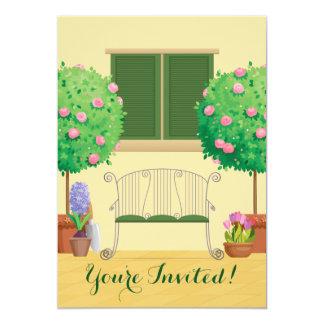 Jardín Potted con la invitación nupcial de la