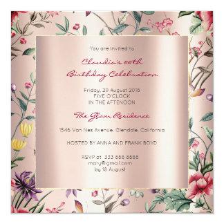 Jardín subió mariposa color de rosa floral del invitación 13,3 cm x 13,3cm