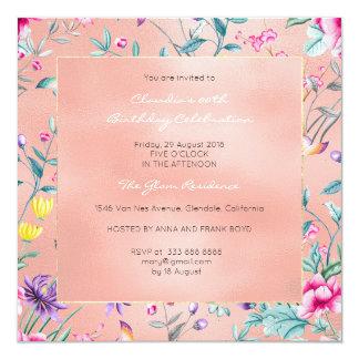 Jardín subió rosa color de rosa floral del invitación 13,3 cm x 13,3cm