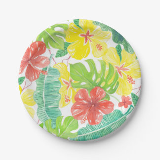 Jardín tropical, plumeria del hibisco y hojas de plato de papel