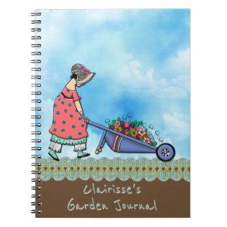 Jardinero retro lindo del chica - personalizado cuaderno