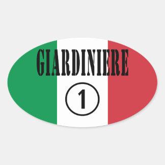 Jardineros italianos: Uno de Giardiniere Numero Pegatina Ovalada