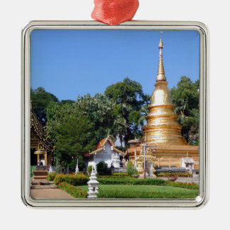 Jardines budistas de la pagoda y del templo adorno cuadrado plateado
