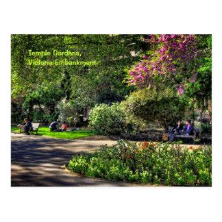 Jardines del templo, terraplén de Victoria, Londre Postal