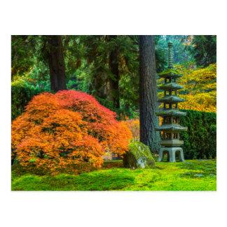 Jardines japoneses en otoño en Portland, Oregon Postal