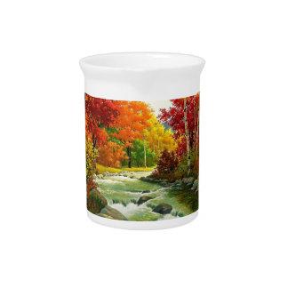 Jarra Árboles del otoño por el río