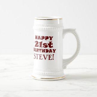 Jarra De Cerveza 21ra cerveza feliz de encargo Stein del cumpleaños