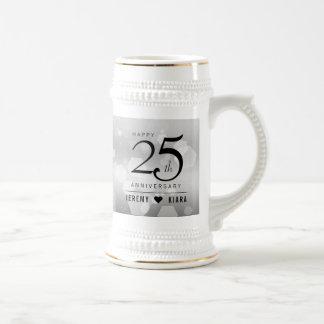 Jarra De Cerveza 25to aniversario de bodas de plata elegante