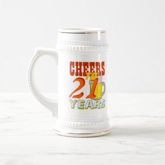 Jarra De Cerveza Alegrías a 21 años de cerveza Stein del cumpleaños