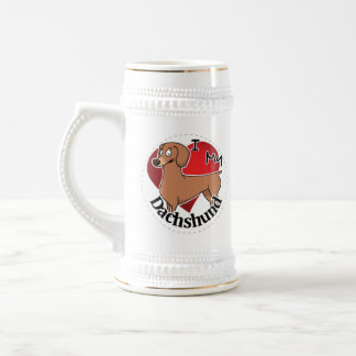 Jarra De Cerveza Amo mi Dachshund divertido y lindo adorable feliz