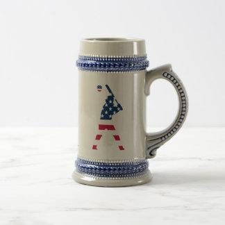 Jarra De Cerveza Bandera del americano del béisbol de América
