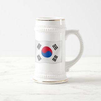 Jarra De Cerveza Bandera que agita tan de Corea