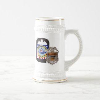 Jarra De Cerveza Blanco/oro 22 onzas. Stein