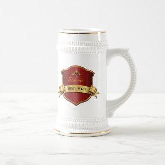 Jarra De Cerveza El mejor hombre de la placa roja y dorada que casa