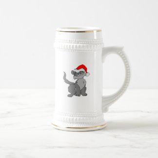 Jarra De Cerveza Gato de Papá Noel con un gorra rojo de santa