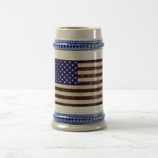 Jarra De Cerveza Grunge del vintage de la bandera americana