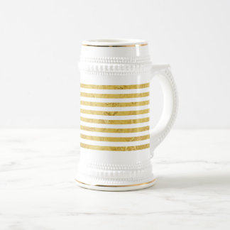 Jarra De Cerveza Hoja de oro elegante y modelo blanco de la raya