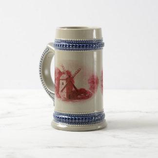 Jarra De Cerveza Molino de viento rojo de Delft, caballo rojo de