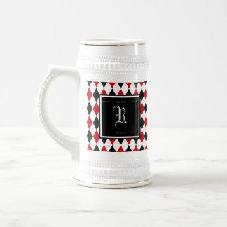 Jarra De Cerveza Monograma rojo y negro del modelo del diamante del