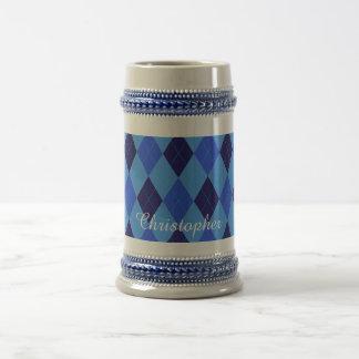 Jarra De Cerveza Nombre personalizado personalizado azul del modelo