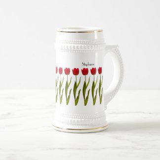 Jarra De Cerveza Personalice:  Fotografía floral del tulipán rojo