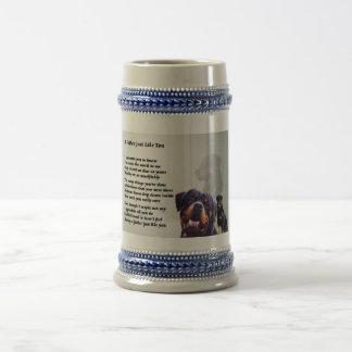Jarra De Cerveza Poema del padre del perro de Rottweiler