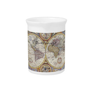 Jarra Mapa Thunder_Cove del vintage del viajero de mundo