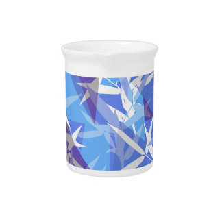 Jarra Para Bebidas Bambú en modelo geométrico azul