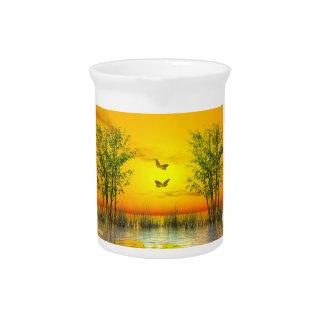 Jarra Para Bebidas Butterlflies por puesta del sol - 3D rinden