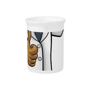 Jarra Para Bebidas Científico del dibujo animado que sostiene el tubo