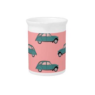 Jarra Para Bebidas Citroen 2CVs - Verde en el rosa - coches