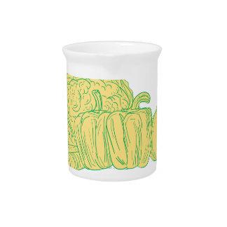 Jarra Para Bebidas Dibujo de la cebolla del pimiento de Brocolli